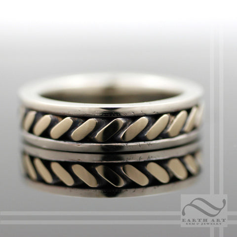 14k White and Yellow Gold Twist Wedding Band - Mixed Metal twisted inlay design