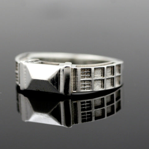 TARDIS Ring Solid Sterling Silver - wedding band - Dr who inspired