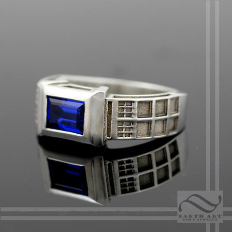 TARDIS Ring Solid Sterling Silver -  With synthetic Sapphire