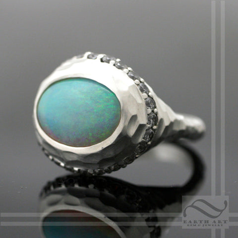 Halo Ring with Opal and CZ - Sterling Silver