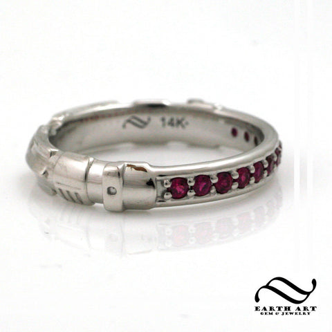 Red Ruby Light Saber Ring - 14k - Narrower Version