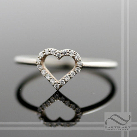 Open Heart Halo Ring - Sterling Silver