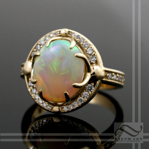 Australian Opal Halo Engagement ring with Diamonds in 14k
