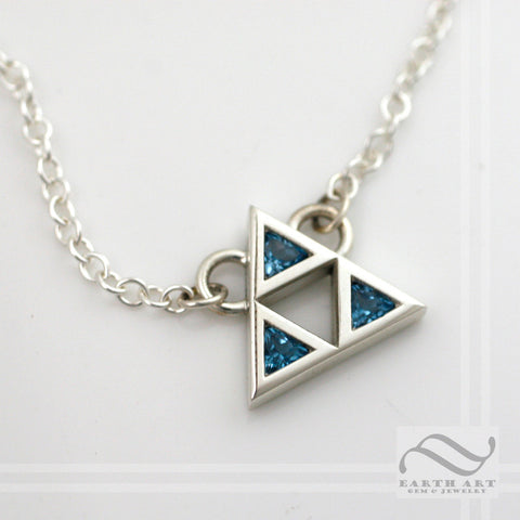 Triforce Necklace -  Sterling or 14k white gold and topaz