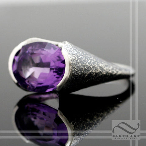Amethyst Statement ring with texture - Sterling Silver