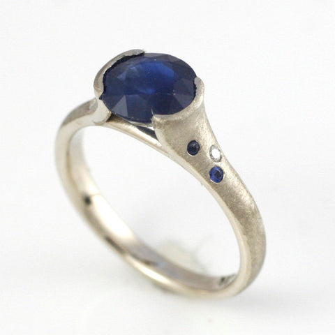 Natural Sapphire Engagement Ring in 14k white gold