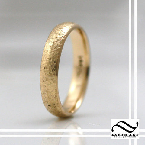 4mm wide Aspen Ring - 14k hammered tree bark band