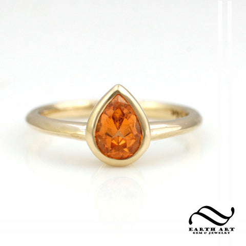 Bezel Set Spessartite Solitaire Engagement Ring in 14k