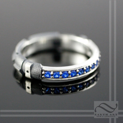 Sapphire Light Saber Ring - Sterling Silver - Narrow Version