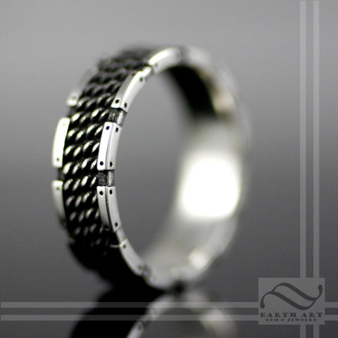 The Guardian - Mens Chainmail Armor Ring Sterling Silver