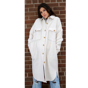 RD Style Cassey Long Length Boxed Shaped Solid Coat 73JB044S