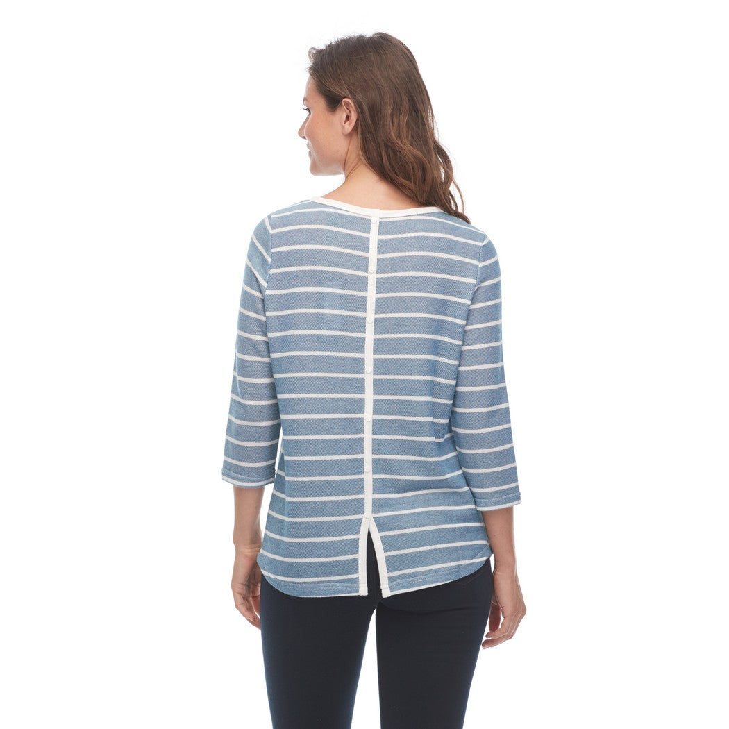 Nautical Stripe Scoop Neck 3/4 Sleeve Top 1818227