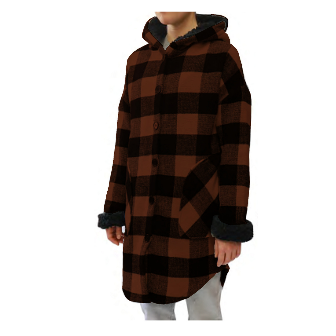 RD Style Abbe Sherpa Plaid Hooded Jacket 73JB047S