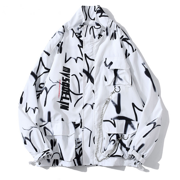 Graffiti Cargo Windbreaker Jacket