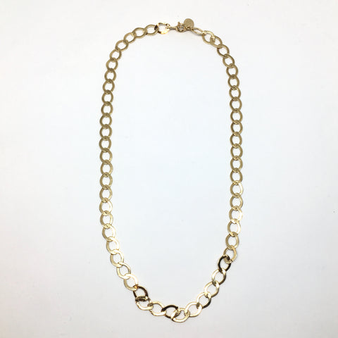 Golden flat chain necklace