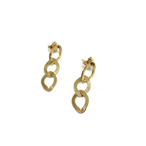 Flat golden chain earrings