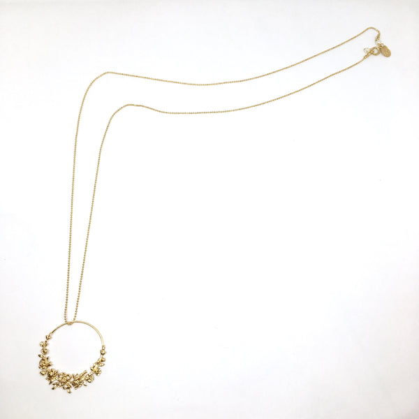 Large circle long roses necklace