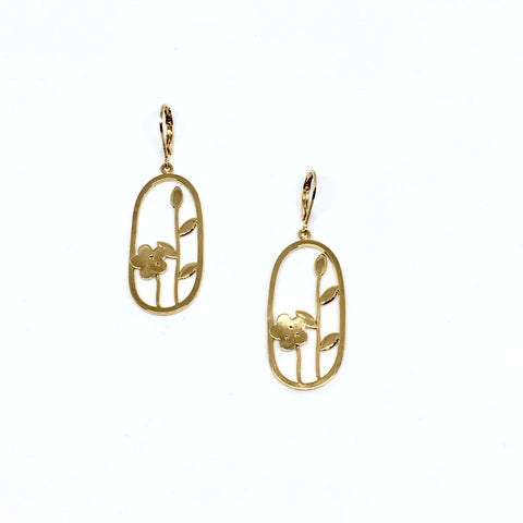Oval flower earrings
