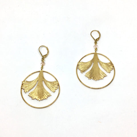 Ginkgo earrings in circle