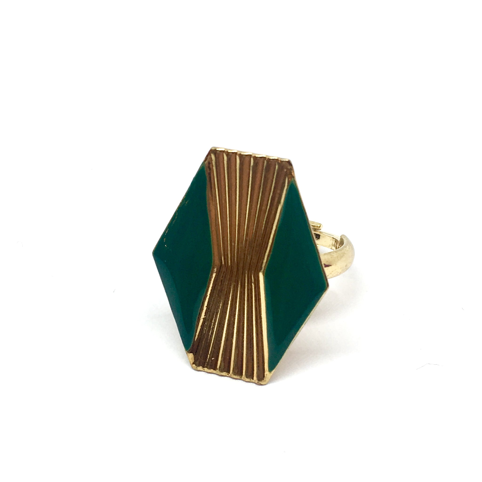 Large hexagon Art Deco ring