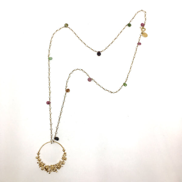 Roses and tourmaline long necklace