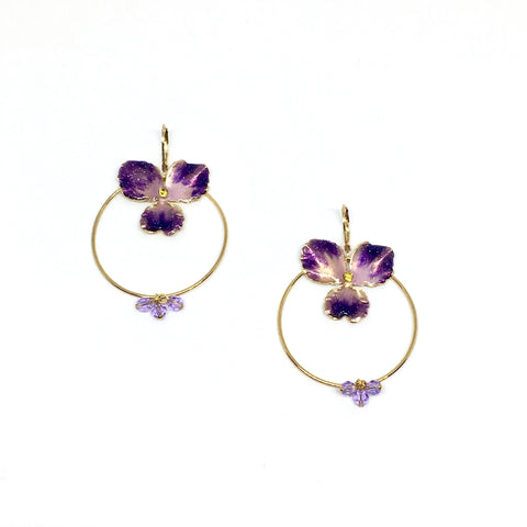 Violet circle earrings
