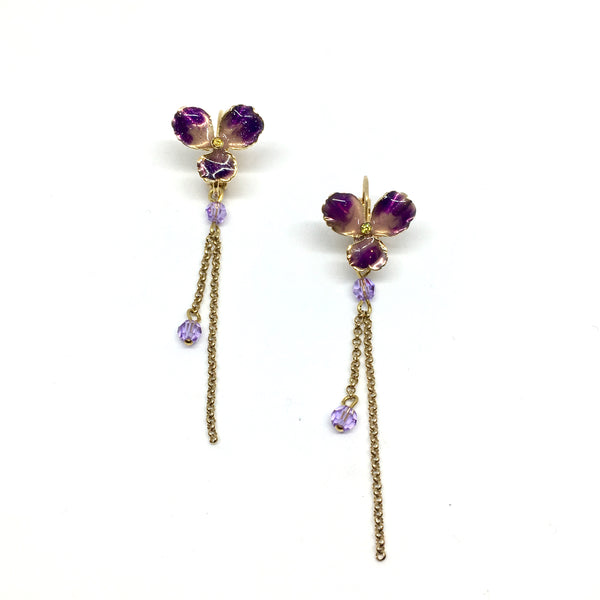 Long violet earrings