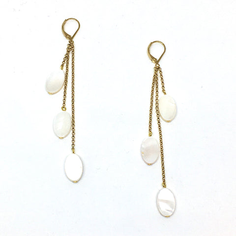 Long mother-of-pearl & chain earrings