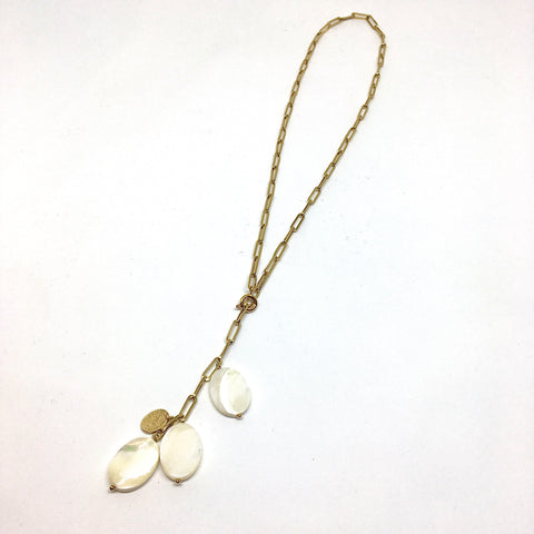 Y necklace mother of pearl & chain