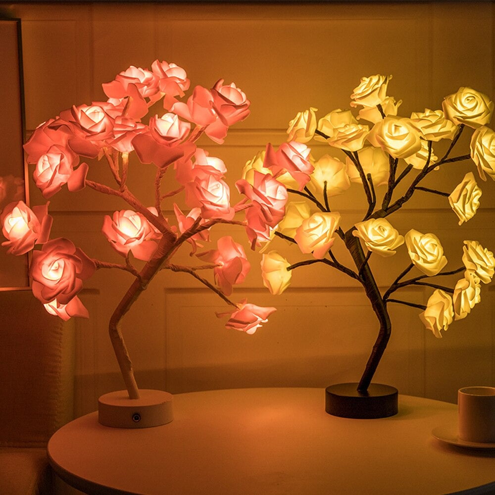 yellow and pink LED roses that serve as nightstand lamp