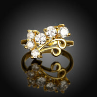 18K Gold Plated Corina Floral Ring made with Swarovski Crystals