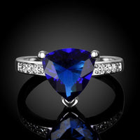 14K White Gold Plating Blue Swarovski Triangle Cut Ring