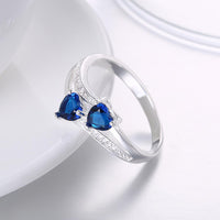 Silver Plating Duo Blue Swarovski Hearts Shaped Ring