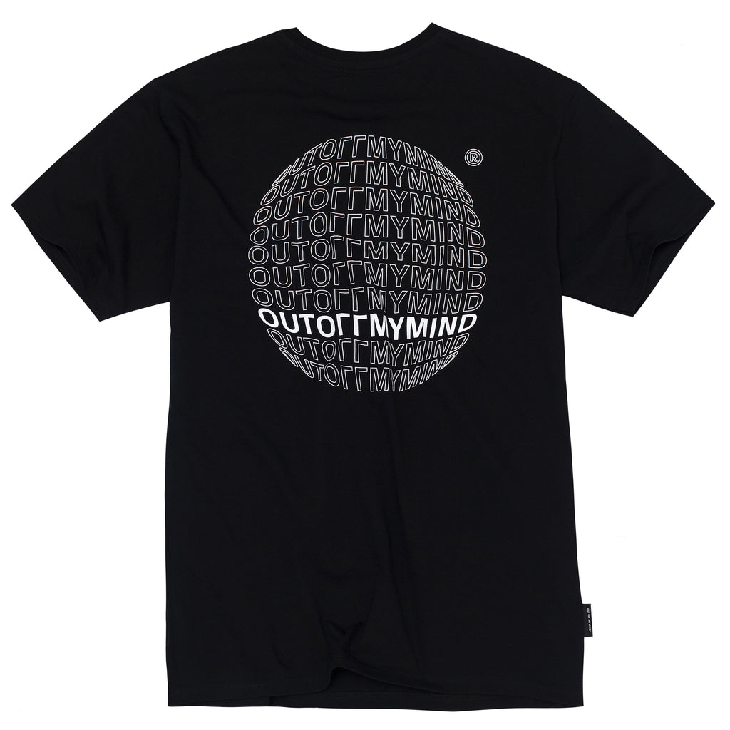 GLOBE TEE BLACK - outoffmymind