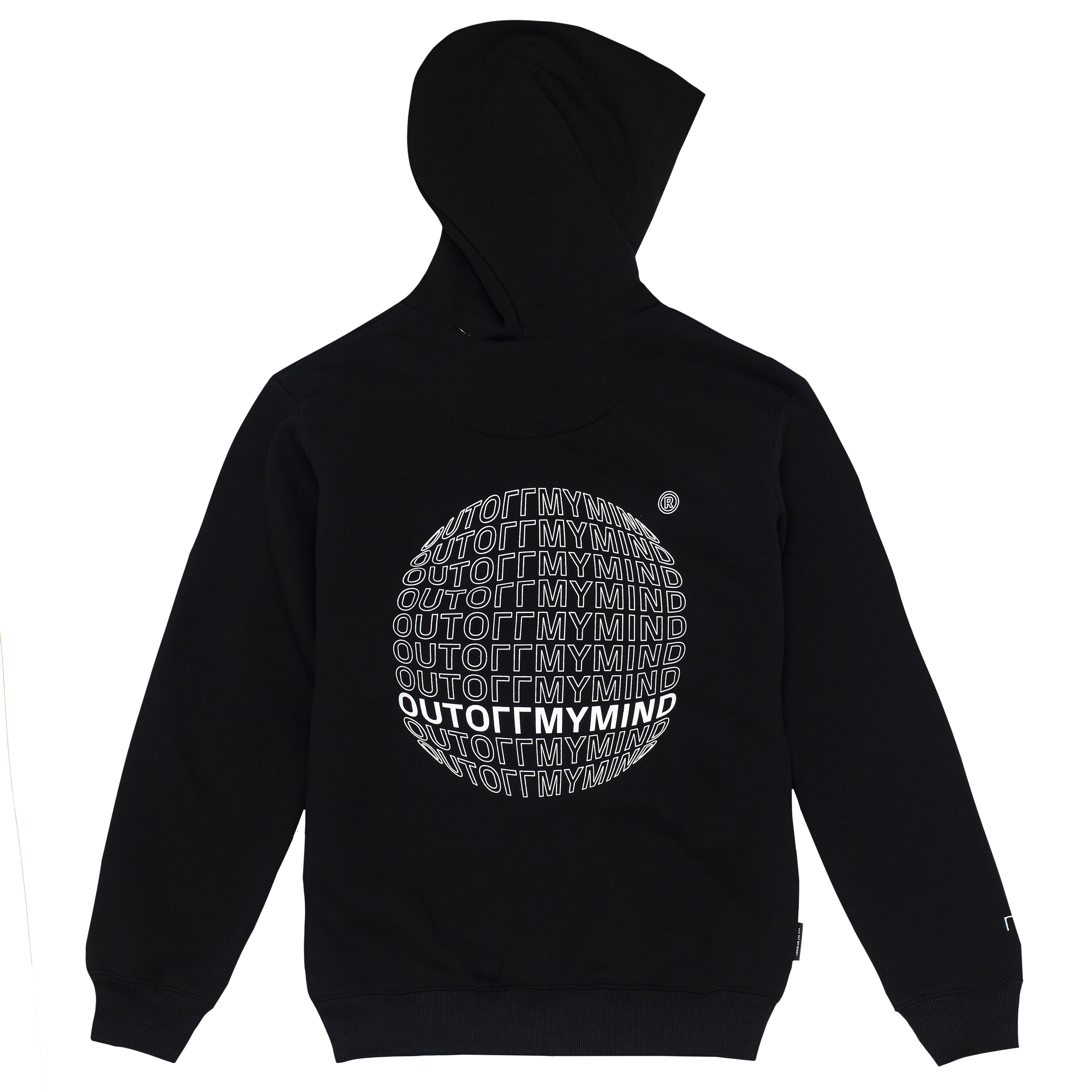 GLOBE ZIPPED HOODIE BLACK - outoffmymind