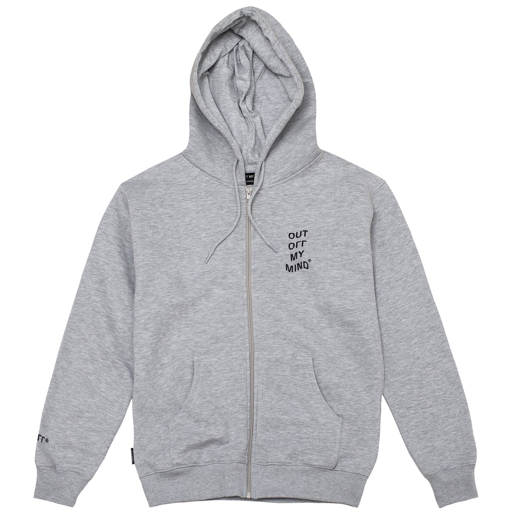 WAVE ZIPPED HOODIE GREY - outoffmymind