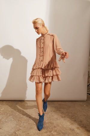 Load image into Gallery viewer, Ruffled Silk Dress