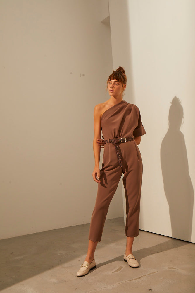 One Shoulder Wool Jumpsuit