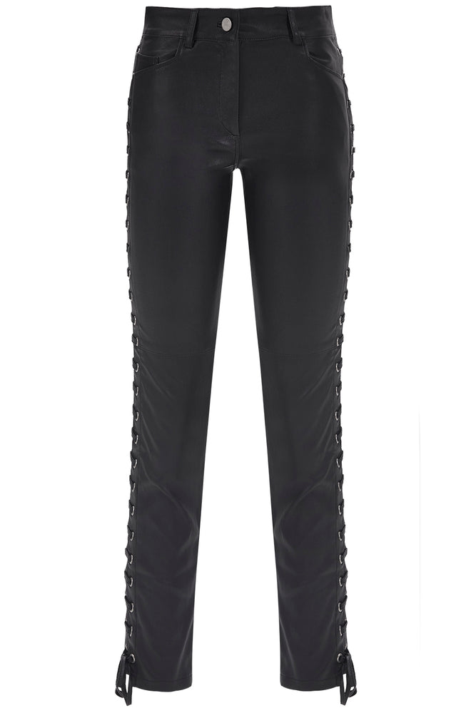 Load image into Gallery viewer, Side Lace-Up Leather Pants