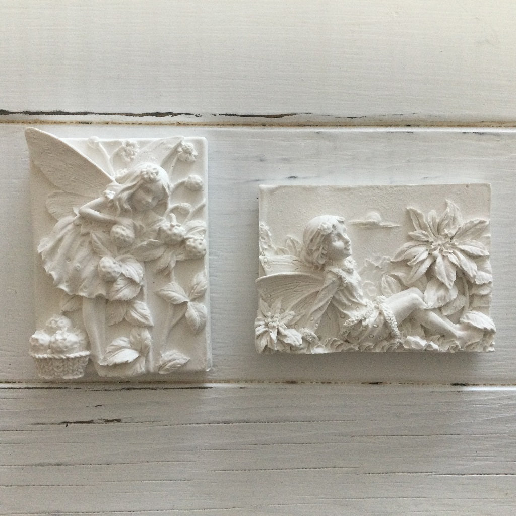 Hydrostone Gypsum ready-to-paint hand cast fairy plaque kits