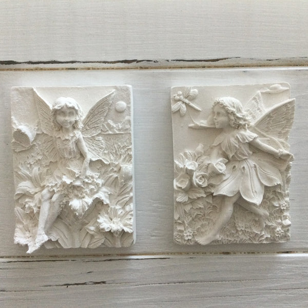 Hand cast in Hydro-Stone gypsum cement, these fairy plaques are ready-to-paint