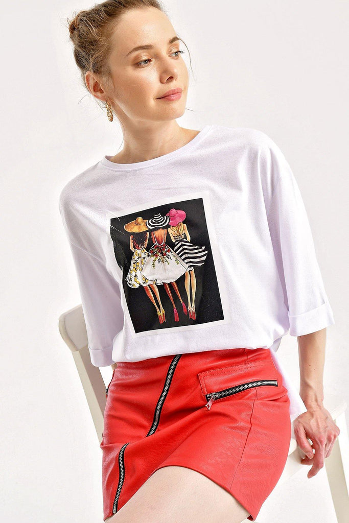 Women's Side Slit Printed T-shirt - Colorful Wings