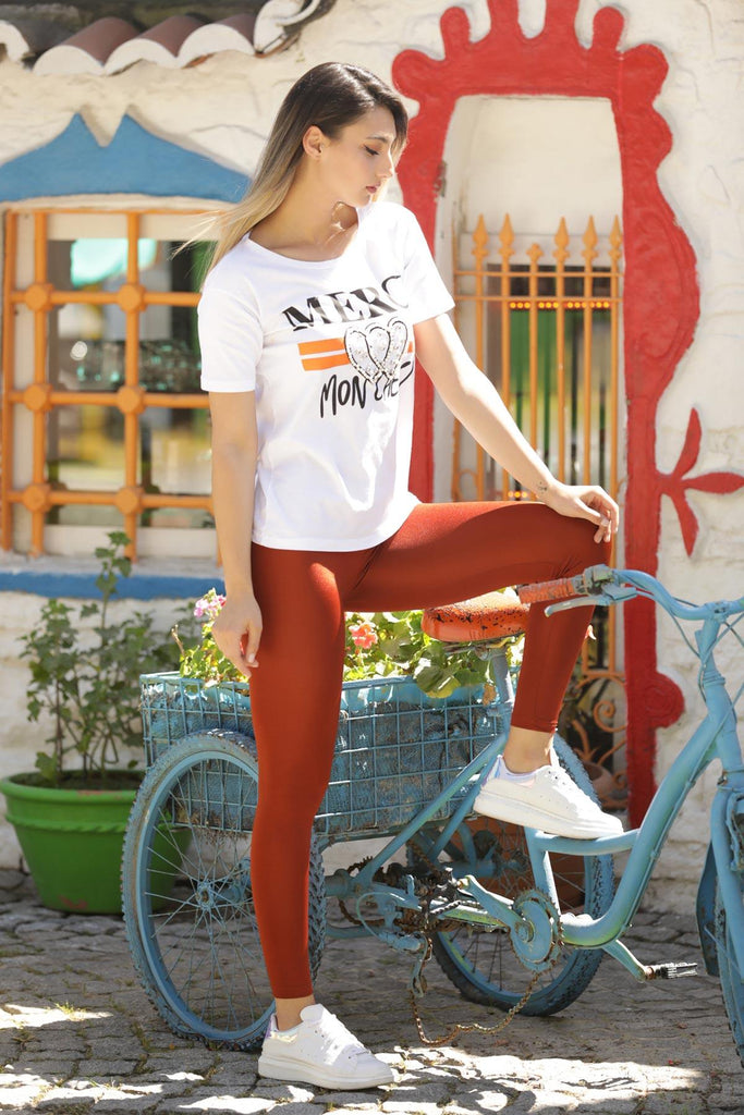 Women's Shiny Copper Tights - Colorful Wings