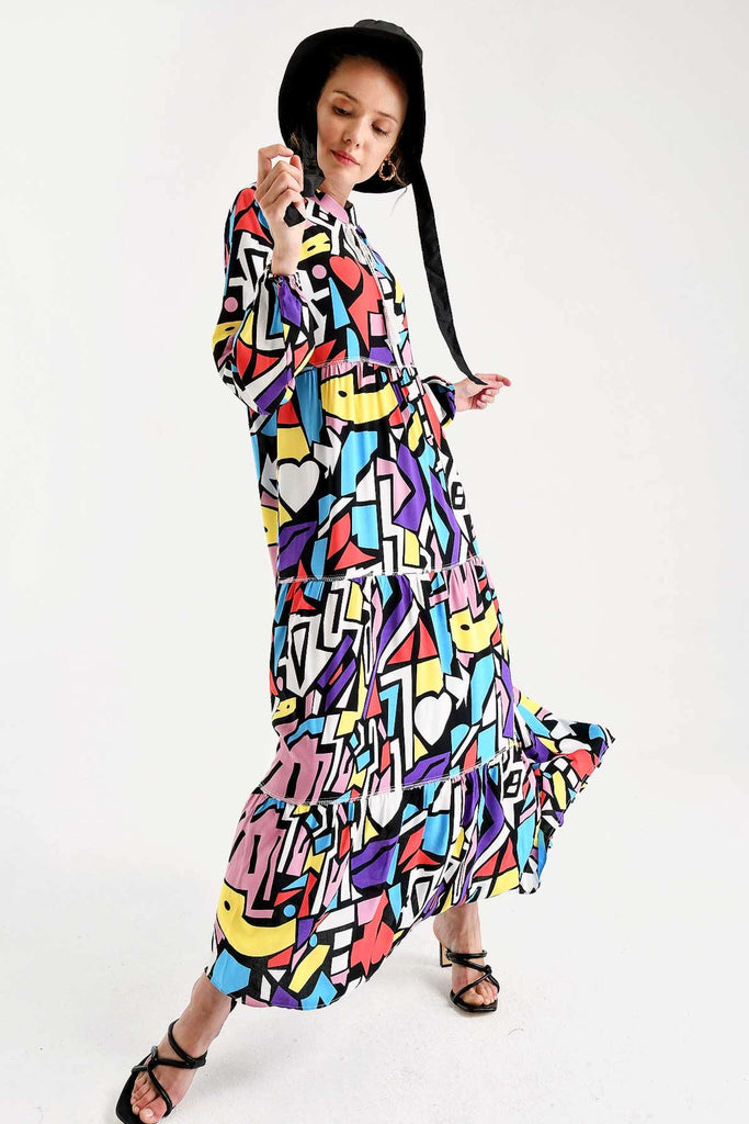 Women's Lace-up Collar Patterned Modest Long Dress - Colorful Wings