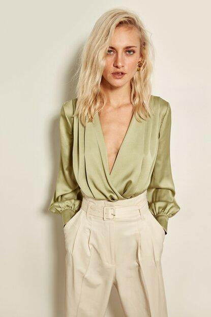 Women's Wrap Collar Mint Green Blouse - Colorful Wings