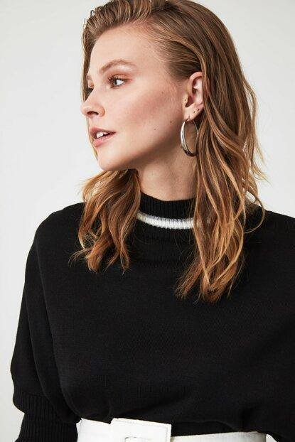 Women's Banded Collar Black Tricot Sweater - Colorful Wings