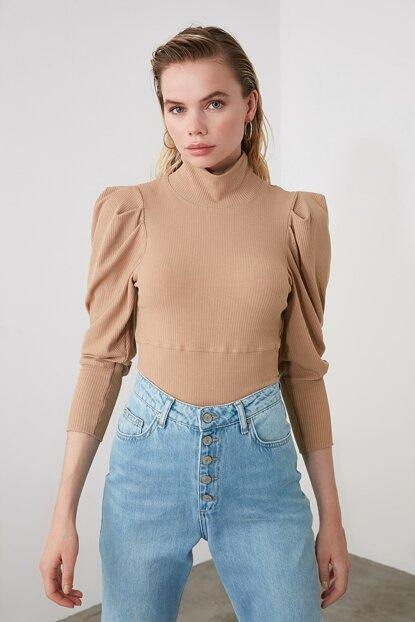 Women's Turtleneck Shirred Sleeves Camel Blouse - Colorful Wings