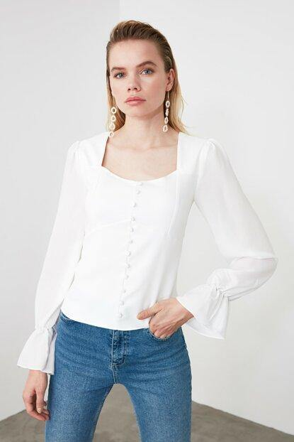 Women's Sleeve Detail White Blouse - Colorful Wings