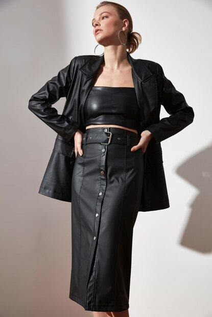 Women's Black Leather Midi Skirt - Colorful Wings