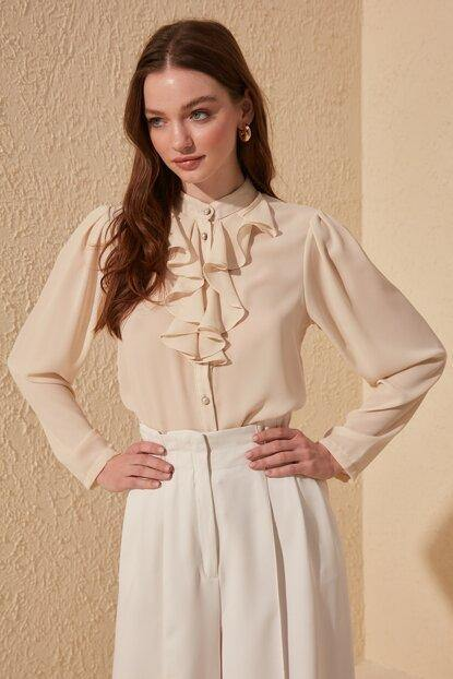 Women's Frill Beige Shirt - Colorful Wings